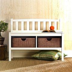 White Bench with Rattan Storage Baskets - BC9218