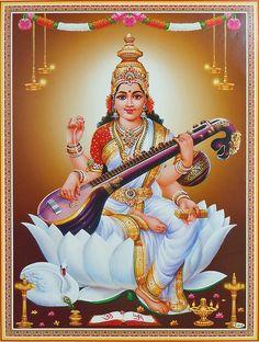 Goddess Saraswati (Reprint on Paper - Unframed)