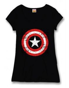 Captain America- Amerika Kapitány Fekete Logó női póló 326eafea59