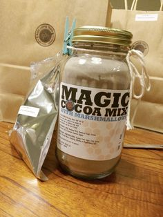 Magic Cocoa Mix with Marshmallows made from by magiccoffeetruck Thanksgiving Care Package, Big Jar, Jar Gifts, Marshmallows, Hot Chocolate, Candle Jars, Peppermint, Cocoa, Vanilla