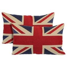 """Union Jack 2 Pack Toss Pillow - Red (13""""x21"""")"""