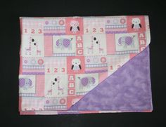Coral and Purple Animals, Block Letters - Double Sided Flannel Blanket