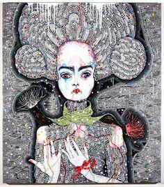 "Brilliant work by Australian artist Del Kathryn Barton, ""Satellite Fade-Out [Acrylic, gouache, watercolour and ink on Polyester canvas, 163 × Del Kathryn Barton, Yellena James, Magazine Art, Magazine Covers, Gustav Klimt, Australian Artists, Whimsical Art, Mail Art, Vincent Van Gogh"
