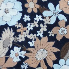 Blue and Brown flowers on navy, Lawn fabric from Japan
