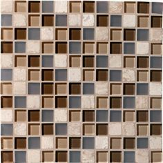 """Mannington 1"""" x 1"""" Glass & Stone Mosaics- Java Blend. Glass mosaics bring these contrasts to life and have emerged as a dominant force in tile accessories. Our new introductions offer a unique take on this trend and feature a combination of clear and frosted glass, and natural stone in three versatile and fashion-forward blended color offerings."""
