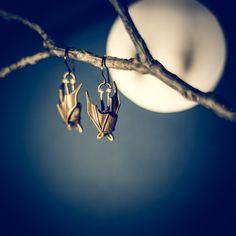 Precious Handmade Sleeping Bat Earrings In Solid by PuccoonRaccoon