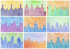 With this drawing you can create a three-dimensional visual effect just with parallel lines. Students of Grade 6th have drawn these bottles with felt-tip pens, choosing a sequence of three or four …