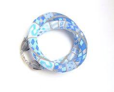 Beaded crochet necklace - Snegurochka- blue - Bead Crochet Rope on Etsy, $67.00