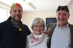 WEARING OUR BANDANAS as support group friends  ~  Gary, Jane & Simon