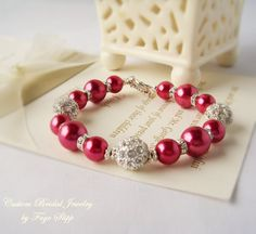 New Bridal Bracelet in Cherry Red Glass Pearls and Silver Alloy Shambalas Bridesmaids Bracelet with Earrings and Drop Necklace
