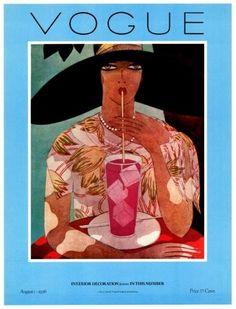 Poster of Vintage Vogue Magazine Cover- August 1, 1926 -Vogue Interior Decoration- Harriet Meserole illustration.