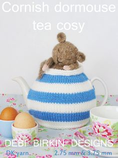 cornish dormouse tea cosy teacozy cozy cosies PDF email knitting pattern.