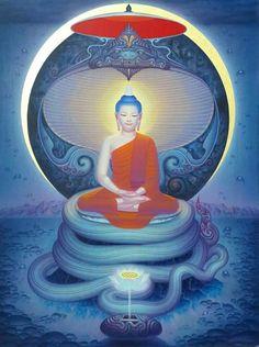 ❥●❥ ♥ ♥ ❥●❥ Lotus Buddha, Art Buddha, Buddha Painting, Buddha Buddhism, Spiritual Pictures, Psy Art, Thai Art, Taoism, Learn Art