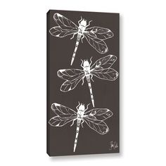 """Laurel Foundry Modern Farmhouse Cyanotype Dragonfly Graphic Art on Wrapped Canvas Size: 24"""" H x 16"""" W x 2"""" D"""