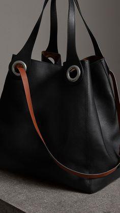 The Large Leather Grommet Detail Tote in Black Burberry Handbags, Prada Handbags, Prada Bag, Purses And Handbags, Leather Handbags, Burberry Bags, Cheap Handbags, Leather Bags, Women's Crossbody Purse