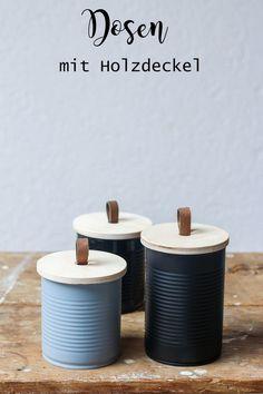 Recycelte Dosen mit Holzdeckel