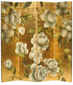 Hand-painted with birds and flowers folding screen. hand-painted wood folding screen featuring birds and flowers on a silver leaf background. The back of this folding screen is solid black