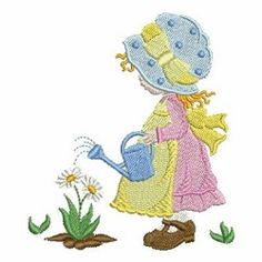 Spring Sunbonnet Sue 2 - 4x4   What's New   Machine Embroidery Designs   SWAKembroidery.com Ace Points Embroidery