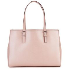 Womens Tote Bags Michael Kors Jet Set Travel Light Pink Leather Tote ($370) ❤ liked on Polyvore featuring bags, handbags, tote bags, leather handbags, pink tote, leather handbag tote, pink leather purse and travel tote