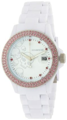 K Women's 9537-2 Ice-Time Skulls Stones Pink Crystal Accented White Watch K $94.88. Made in China, Italian design; precise quartz movement. Case diameter : 40 mm. Protective mineral crystal protects watch from scratches. Water resistant up to 99 feet (30 M). Polycarbonate case; analog skulls white dial; date function