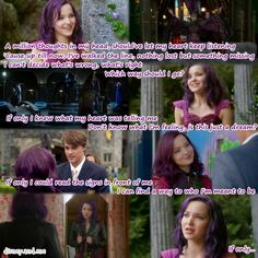 Disney Descendants. Mal, Ben, Maleficent. Dove Cameron and Mitchell Hope. If Only.