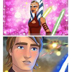 Anakin Skywalker, Anakin X Ahsoka, Anakin Vader, Ahsoka Tano, Star Wars Rebels, Star Wars Clone Wars, Best Star Wars Characters, Comic Art Girls, Star Wars Jokes