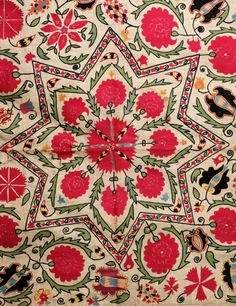 suzani:  antique uzbek suzani, central asian ethnic textiles, silk embroidery, 19th c,