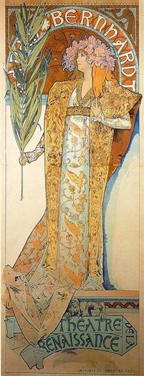 Poster for Victorien Sardou`s Gismonda starring Sarah Bernhardt at the Théâtre de la Renaissance in Paris, Alphonse Mucha