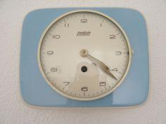 Hettich Blue Retro 1950s Ceramic Kitchen German Wall Clock Vintage Junghans era