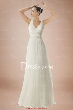 Ethereal and Airy V-neck Floor-length A-line Bridal Dress with Court Train