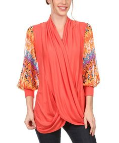 Loving this Coral Geometric-Sleeve Cutout Top - Plus on #zulily! #zulilyfinds