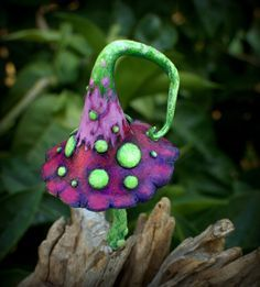 Purple pink fuchsia green amanita fairy garden fantasy mushroom  ,polymer clay toadstool Home decor,Fairy Garden