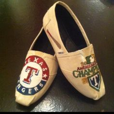 Texas Rangers hand painted TOMS! ok yes!