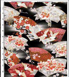 Kona Bay - Serene Cranes & Floral Fans - Last 3 1/3 yards :