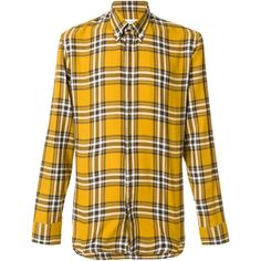 Maison Margiela plaid curved hem shirt ($495) ❤ liked on Polyvore featuring men's fashion, men's clothing, men's shirts, men's casual shirts, mens long sleeve plaid shirts, mens casual long sleeve shirts, mens tartan shirt, mens longsleeve shirts and mens button down collar shirts