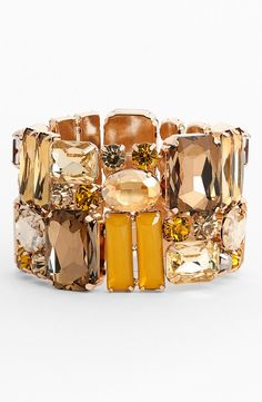 Instant glamour! Crushing on this yellow and gold crystal stone stretch bracelet.