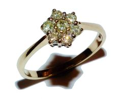Fully Hallmarked 9ct Yellow Gold & 0.33ct Diamond Flower Cluster Ring (UK: S)