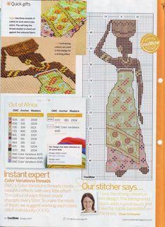 African woman cross stitch