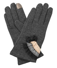 Loving this Dark Gray Ruffle-Trio Bow-Accent Touch Screen Gloves on #zulily! #zulilyfinds