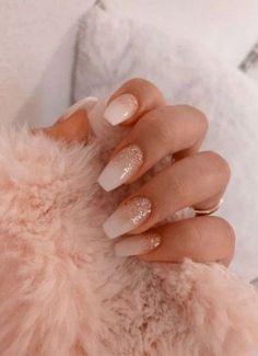 Nude Nails, Pink Nails, Gel Nails, Nail Polish, Coffin Nails, Nail Nail, Pink Coffin, Glitter Manicure, Gradient Nails
