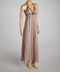 This Coral & Mint Abstract Stripe Maxi Dress is perfect! #zulilyfinds