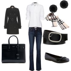 ready for fall -already by czcoto on Polyvore featuring polyvore fashion style Steffen Schraut Burberry Paige Denim Walking Cradles Yves Saint Laurent Anne Klein Mixit