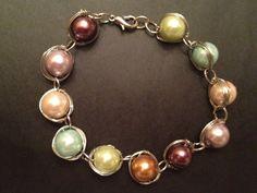 Wire wrapped pearl bracelet   $25