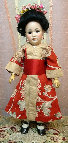 """Super Rare 15"""" SIMON & HALBIG 1329 Oriental Lady All Antique And Fabulous! from Ruby Lane"""