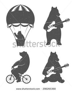 Design vintage illustration Travel Bear on balloon, bear cycling and bear with guitar. Hipster print of bears. Romantic illustration for posters and prints of t-shirt - stock vector