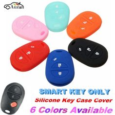 3 Buttons Silicone Car Key Cover Case For Toyota Sienna Tacoma Tundra Remote Key 6 Colors #Affiliate