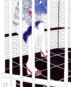 ballpoint pen illustration of a woman behind bars Line Drawing, Drawing Sketches, Pen Illustration, Illustration Styles, Advanced Higher Art, Ballpoint Pen Art, Music Painting, Drawing Projects, High Art
