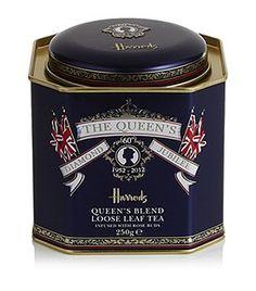 Harrods' Queen's Blend Loose Leaf Tea tea tin .... 'The Queen's Diamond Jubilee 1952-2012' banner and British flags, commemorating Queen Elizabeth II's 60 years on the throne, 2012, UK