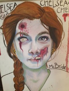 One of my really good friends made me into a zombie and I'm in love with it. Zombie Face, Diy Arts And Crafts, Book Illustration, Zombies, Inktober, Artsy Fartsy, Cute Art, Illusions, Gothic