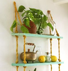All I Need is a Drill? – DIY Rope Shelf : all i need is a drill diy rope shelf, diy, living room ideas, shelving ideas, wall decor – Tepe Time Decor, Drill, Shelves, Nautical Shelves, Sturdy Furniture, Rope Rug, Diy Entryway, Wooden Diy, Rope Shelves